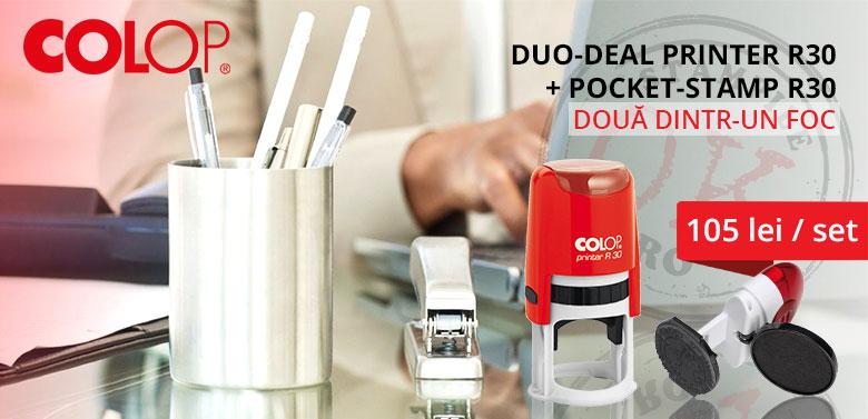 Stampile Colop - Stampila automata + stampila de buzunar la cel mai bun pret - Colop Printer R30 + Colop Pocket R30